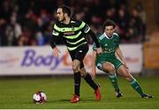 12 March 2018; Joey O'Brien of Shamrock Rovers in action against Barry McNamee of Cork City during the SSE Airtricity League Premier Division match between Cork City and Shamrock Rovers at Turner's Cross in Cork. Photo by Stephen McCarthy/Sportsfile