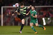 12 March 2018; Ronan Finn of Shamrock Rovers in action against Gearoid Morrissey of Cork City during the SSE Airtricity League Premier Division match between Cork City and Shamrock Rovers at Turner's Cross in Cork. Photo by Stephen McCarthy/Sportsfile