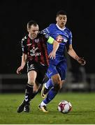 12 March 2018; Derek Pender of Bohemians in action against Courtney Duffus of Waterford during the SSE Airtricity League Premier Division match between Waterford and Bohemians at Waterford Regional Sports Centre in Waterford.  Photo by Harry Murphy/Sportsfile