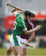 11 March 2018; Barry Murphy of Limerick and Adrian Tuohy of Galway tussle off the ball during the Allianz Hurling League Division 1B Round 5 match between Galway and Limerick at Pearse Stadium in Galway. Photo by Diarmuid Greene/Sportsfile
