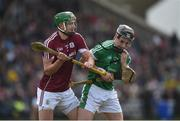 11 March 2018: Adrian Tuohy of Galway and Barry Murphy of Limerick tussle off the ball during the Allianz Hurling League Division 1B Round 5 match between Galway and Limerick at Pearse Stadium in Galway. Photo by Diarmuid Greene/Sportsfile