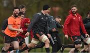 12 March 2018; Kevin O'Byrne, Robin Copeland, and Darren O'Shea during Munster Rugby squad training at the University of Limerick in Limerick. Photo by Diarmuid Greene/Sportsfile