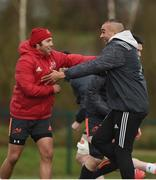 12 March 2018; Duncan Williams and Simon Zebo during Munster Rugby squad training at the University of Limerick in Limerick. Photo by Diarmuid Greene/Sportsfile