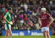 11 March 2018: Diarmaid Byrnes of Limerick and Joe Canning of Galway during the Allianz Hurling League Division 1B Round 5 match between Galway and Limerick at Pearse Stadium in Galway. Photo by Diarmuid Greene/Sportsfile