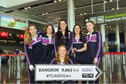 13 March 2018; Dublin goalkeeper Ciara Trant, front, with her team-mates, from left, Sinéad Finnegan, Noelle Healy, Sinéad Goldrick, Lyndsey Davey and Lauren Magee as they get ready for the TG4 Ladies Football All-Star Tour departure to Bangkok at Dublin Airport, in Dublin. Photo by Piaras Ó Mídheach/Sportsfile
