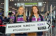 13 March 2018; Cork's Orla Finn, left, and Emma Spillane get ready for the TG4 Ladies Football All-Star Tour departure to Bangkok at Dublin Airport, in Dublin. Photo by Piaras Ó Mídheach/Sportsfile