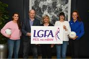 13 March 2018; The Ladies Gaelic Football Association and championship sponsors TG4 have announced details of their 2018 summer schedule. TG4 will screen 19 fixtures covering the senior and intermediate championships, while special activities to mark Bliain na Gaeilge were also confirmed. Pictured at the Croke Park Hotel are, from left, Armagh ladies footballer Aimee Mackin, Ceannaire Spóirt TG4 Rónán Ó Coisdealbha, LGFA President Marie Hickey, TG4's Gráinne McElwain and Tipperary ladies footballer Aishling Moloney. Photo by Piaras Ó Mídheach/Sportsfile