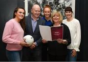 13 March 2018; The Ladies Gaelic Football Association and championship sponsors TG4 have announced details of their 2018 summer schedule. TG4 will screen 19 fixtures covering the senior and intermediate championships, while special activities to mark Bliain na Gaeilge were also confirmed. Pictured at the Croke Park Hotel are, from left, Armagh ladies footballer Aimee Mackin, Ceannaire Spóirt TG4 Rónán Ó Coisdealbha, Tipperary ladies footballer Aishling Moloney, LGFA President Marie Hickey and TG4's Gráinne McElwain. Photo by Piaras Ó Mídheach/Sportsfile