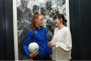 13 March 2018; The Ladies Gaelic Football Association and championship sponsors TG4 have announced details of their 2018 summer schedule. TG4 will screen 19 fixtures covering the senior and intermediate championships, while special activities to mark Bliain na Gaeilge were also confirmed. Pictured at the Croke Park Hotel are Tipperary ladies footballer Aishling Moloney and TG4's Gráinne McElwain. Photo by Piaras Ó Mídheach/Sportsfile