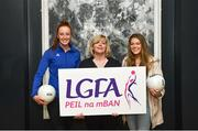 13 March 2018; The Ladies Gaelic Football Association and championship sponsors TG4 have announced details of their 2018 summer schedule. TG4 will screen 19 fixtures covering the senior and intermediate championships, while special activities to mark Bliain na Gaeilge were also confirmed. Pictured at the Croke Park Hotel are, from left, Tipperary ladies footballer Aishling Moloney, LGFA President Marie Hickey, and Mayo ladies footballer Sarah Rowe. Photo by Piaras Ó Mídheach/Sportsfile