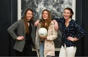 13 March 2018; The Ladies Gaelic Football Association and championship sponsors TG4 have announced details of their 2018 summer schedule. TG4 will screen 19 fixtures covering the senior and intermediate championships, while special activities to mark Bliain na Gaeilge were also confirmed. Pictured at the Croke Park Hotel are, Mayo ladies footballers, from left, Sarah Tierney, Sarah Rowe, and Aileen Gilroy. Photo by Piaras Ó Mídheach/Sportsfile