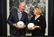 13 March 2018; The Ladies Gaelic Football Association and championship sponsors TG4 have announced details of their 2018 summer schedule. TG4 will screen 19 fixtures covering the senior and intermediate championships, while special activities to mark Bliain na Gaeilge were also confirmed. Pictured at the Croke Park Hotel are, Ceannaire Spóirt TG4 Rónán Ó Coisdealbha, and LGFA President Marie Hickey. Photo by Piaras Ó Mídheach/Sportsfile