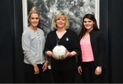 13 March 2018; The Ladies Gaelic Football Association and championship sponsors TG4 have announced details of their 2018 summer schedule. TG4 will screen 19 fixtures covering the senior and intermediate championships, while special activities to mark Bliain na Gaeilge were also confirmed. Pictured at the Croke Park Hotel is LGFA President Marie Hickey, with Cork ladies footballers Bríd Stack, left, and Marie Ambrose. Photo by Piaras Ó Mídheach/Sportsfile