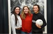 13 March 2018; The Ladies Gaelic Football Association and championship sponsors TG4 have announced details of their 2018 summer schedule. TG4 will screen 19 fixtures covering the senior and intermediate championships, while special activities to mark Bliain na Gaeilge were also confirmed. Pictured at the Croke Park Hotel are Dublin ladies footballers, from left, Sinead Goldrick, Sinéad Finnegan and Leah Caffrey. Photo by Piaras Ó Mídheach/Sportsfile