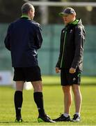13 March 2018; Head coach Joe Schmidt, rigt, with referee John Lacey during Ireland rugby squad training at Carton House in Maynooth, Co Kildare. Photo by Brendan Moran/Sportsfile