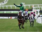 13 March 2018; Jockey Ruby Walsh celebrates after winning the Racing Post Arkle Challenge Trophy Steeple Chase on Footpad on Day One of the Cheltenham Racing Festival at Prestbury Park in Cheltenham, England. Photo by Seb Daly/Sportsfile
