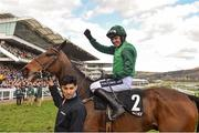 13 March 2018; Jockey Ruby Walsh celebrates after winning The Racing Post Arkle Challenge Trophy Steeple Chase on Footpad during Day One of the Cheltenham Racing Festival at Prestbury Park in Cheltenham, England. Photo by Seb Daly/Sportsfile