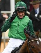 13 March 2018; Jockey Ruby Walsh celebrates as he enters the winners' enclosure after winning The Racing Post Arkle Challenge Trophy Steeple Chase on Footpad, during Day One of the Cheltenham Racing Festival at Prestbury Park in Cheltenham, England. Photo by Ramsey Cardy/Sportsfile