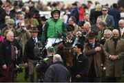 13 March 2018; Jockey Ruby Walsh, celebrates as he enters the winners' enclosure after winning The Racing Post Arkle Challenge Trophy Steeple Chase on Footpad, during Day One of the Cheltenham Racing Festival at Prestbury Park in Cheltenham, England. Photo by Ramsey Cardy/Sportsfile