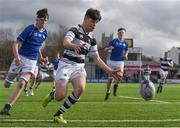 13 March 2018; Scott Meaney of Belvedere College in action during the Bank of Ireland Leinster Schools Junior Cup Semi-Final match between Belvedere College and St Mary's College at Donnybrook Stadium in Dublin. Photo by Harry Murphy/Sportsfile