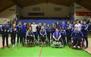 13 March 2018: The finals of the inaugural 'All-Ireland TY Wheelchair Basketball Championships' launched by Irish Wheelchair Association (IWA) took place on Tuesday, 13th March 2018 in the National Basketball Arena, Tallaght. Ardscoil na Mara, Tramore Co. Waterford and Gaelcholáiste Mhuire AG, Cork reached the grand final with Gaelcholáiste Mhuire AG rolling to victory on the day, in a fast paced match which ended in 11 - 4. Pictured are the Gaelcholáiste Mhuire AG team after being presented with the trophy at the National Basketball Arena in Tallaght, Dublin. Photo by Eóin Noonan/Sportsfile