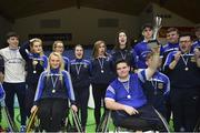 13 March 2018: The finals of the inaugural 'All-Ireland TY Wheelchair Basketball Championships' launched by Irish Wheelchair Association (IWA) took place on Tuesday, 13th March 2018 in the National Basketball Arena, Tallaght. Ardscoil na Mara, Tramore Co. Waterford and Gaelcholáiste Mhuire AG, Cork reached the grand final with Gaelcholáiste Mhuire AG rolling to victory on the day, in a fast paced match which ended in 11 - 4. Pictured is Gaelcholáiste Mhuire AG captain Jack Quin lifting the trophy at the National Basketball Arena in Tallaght, Dublin. Photo by Eóin Noonan/Sportsfile