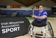13 March 2018: The finals of the inaugural 'All-Ireland TY Wheelchair Basketball Championships' launched by Irish Wheelchair Association (IWA) took place on Tuesday, 13th March 2018 in the National Basketball Arena, Tallaght. Ardscoil na Mara, Tramore Co. Waterford and Gaelcholáiste Mhuire AG, Cork reached the grand final with Gaelcholáiste Mhuire AG rolling to victory on the day, in a fast paced match which ended in 11 - 4. Pictured is Gaelcholáiste Mhuire AG captain Jack Quin with the trophy at the National Basketball Arena in Tallaght, Dublin. Photo by Eóin Noonan/Sportsfile