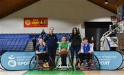 13 March 2018: The finals of the inaugural 'All-Ireland TY Wheelchair Basketball Championships' launched by Irish Wheelchair Association (IWA) took place on Tuesday, 13th March 2018 in the National Basketball Arena, Tallaght. Ardscoil na Mara, Tramore Co. Waterford and Gaelcholáiste Mhuire AG, Cork reached the grand final with Gaelcholáiste Mhuire AG rolling to victory on the day, in a fast paced match which ended in 11 - 4. Pictured from left, Freya Roche, Emily Campbell of Ard SCoil Na Mara, Referee Johnathan Hayes, Eimear Tóibín of Gaelcholáiste Mhuire AG and Cathal O'Neill of Grennans College Thomastown at the National Basketball Arena in Tallaght, Dublin. Photo by Eóin Noonan/Sportsfile