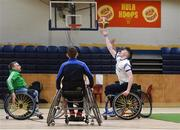 13 March 2018: The finals of the inaugural 'All-Ireland TY Wheelchair Basketball Championships' launched by Irish Wheelchair Association (IWA) took place on Tuesday, 13th March 2018 in the National Basketball Arena, Tallaght. Ardscoil na Mara, Tramore Co. Waterford and Gaelcholáiste Mhuire AG, Cork reached the grand final with Gaelcholáiste Mhuire AG rolling to victory on the day, in a fast paced match which ended in 11 - 4. A general viw of action during the final between Ardscoil na Mara and Gaelcholáiste Mhuire AG at the National Basketball Arena in Tallaght, Dublin. Photo by Eóin Noonan/Sportsfile