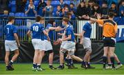 13 March 2018; St Mary's College players congratulate Adam Sloan for winning a penalty near the end of the Bank of Ireland Leinster Schools Junior Cup Semi-Final match between Belvedere College and St Mary's College at Donnybrook Stadium in Dublin. Photo by Daire Brennan/Sportsfile