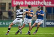 13 March 2018; Barra O'Loughlin of St Mary's College is tackled by Daniel Hawkshaw of Belvedere College during the Bank of Ireland Leinster Schools Junior Cup Semi-Final match between Belvedere College and St Mary's College at Donnybrook Stadium in Dublin. Photo by Daire Brennan/Sportsfile
