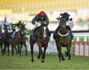 13 March 2018; Mister Whitaker, left, with Brian Hughes up, crosses the finishing post, alongside Rather Be, with Jeremiah McGrath up, on their way to winning the Close Brothers Novices' Handicap Chase on Day One of the Cheltenham Racing Festival at Prestbury Park in Cheltenham, England. Photo by Seb Daly/Sportsfile