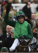 13 March 2018; Jockey Ruby Walsh celebrates after winning The Racing Post Arkle Challenge Trophy Steeple Chase on Footpad on Day One of the Cheltenham Racing Festival at Prestbury Park in Cheltenham, England. Photo by Ramsey Cardy/Sportsfile