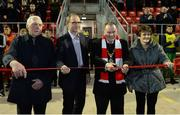 12 March 2018; Pictured are, from left to right, Michael Farren, Repubic of Ireland manager Martin O'Neill, Mayor of Derry City Maolíosa McHugh and Kathleen Farren as the ribbon is cut at the offical opening of the new Mark Farren Stand before the SSE Airtricity League Premier Division match between Derry City and Limerick at the Brandywell Stadium in Derry. Photo by Oliver McVeigh/Sportsfile