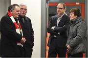 12 March 2018; Pictured are, from left to right, Mayor of Derry City Maolíosa McHugh Michael Farren, Repubic of Ireland manager Martin O'Neill and Kathleen Farren after the offical opening of the new Mark Farren Stand before the SSE Airtricity League Premier Division match between Derry City and Limerick at the Brandywell Stadium in Derry. Photo by Oliver McVeigh/Sportsfile
