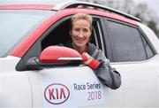 14 March 2018; Catherina McKiernan and Rose of Tralee Jennifer Byrne set the pace ahead of the inaugural Kia Race Series which kicks off on the 17th March with The Streets of Portlaoise 5K. The Kia Race Series will bring together seven well established regional races around Ireland under one umbrella with an added closed road running event in Mondello Park. The Kia Race Series is encouraging Ireland's best male and female distance athletes to compete against each other, with a new Kia Stonic up for grabs for both the overall male and female winner of the series. To be eligible to win the series, runners must take part in five of the eight races including the finale. There is the added incentive of €7,000 bonus fund available for course records.   Runners can enter on-line on kiaraceseries.com and join the conversation on Twitter and Facebook @KiaRaceSeries. Pictured at the launch is Catherina McKiernan at Mondello Park Race Course in Donore, Kildare. Photo by Sam Barnes/Sportsfile