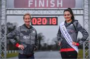 14 March 2018; Catherina McKiernan and Rose of Tralee Jennifer Byrne set the pace ahead of the inaugural Kia Race Series which kicks off on the 17th March with The Streets of Portlaoise 5K. The Kia Race Series will bring together seven well established regional races around Ireland under one umbrella with an added closed road running event in Mondello Park. The Kia Race Series is encouraging Ireland's best male and female distance athletes to compete against each other, with a new Kia Stonic up for grabs for both the overall male and female winner of the series. To be eligible to win the series, runners must take part in five of the eight races including the finale. There is the added incentive of €7,000 bonus fund available for course records.   Runners can enter on-line on kiaraceseries.com and join the conversation on Twitter and Facebook @KiaRaceSeries. Pictured at the launch are Catherina McKiernan and Rose of Tralee Jennifer Byrne at Mondello Park Race Course in Donore, Kildare. Photo by Sam Barnes/Sportsfile