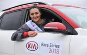 14 March 2018; Catherina McKiernan and Rose of Tralee Jennifer Byrne set the pace ahead of the inaugural Kia Race Series which kicks off on the 17th March with The Streets of Portlaoise 5K. The Kia Race Series will bring together seven well established regional races around Ireland under one umbrella with an added closed road running event in Mondello Park. The Kia Race Series is encouraging Ireland's best male and female distance athletes to compete against each other, with a new Kia Stonic up for grabs for both the overall male and female winner of the series. To be eligible to win the series, runners must take part in five of the eight races including the finale. There is the added incentive of €7,000 bonus fund available for course records.   Runners can enter on-line on kiaraceseries.com and join the conversation on Twitter and Facebook @KiaRaceSeries. Pictured at the launch is Rose of Tralee Jennifer Byrne at Mondello Park Race Course in Donore, Kildare. Photo by Sam Barnes/Sportsfile