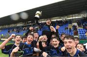 14 March 2018: Dundalk Grammar School captain Harry O'Neill lifts the Duff Cup as his team-mates celebrate after the Duff Cup Final match between CBS Enniscorthy - St Marys and Dundalk Grammar at Donnybrook Stadium in Dublin. Photo by Matt Browne/Sportsfile