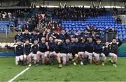 14 March 2018: Dundalk Grammar School captain Harry O'Neill and his team-mates celebrate with the Duff Cup after the Duff Cup Final match between CBS Enniscorthy - St Marys and Dundalk Grammar at Donnybrook Stadium in Dublin. Photo by Matt Browne/Sportsfile