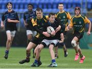 14 March 2018: Matthew Meegan of Dundalk Grammar School is tackled by Shane Kehoe of CBS Enniscorthy - St Marys during the Duff Cup Final match between CBS Enniscorthy - St Marys and Dundalk Grammar at Donnybrook Stadium in Dublin. Photo by Matt Browne/Sportsfile