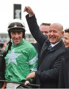 14 March 2018; Owner Philip Reynolds, right, celebrates with jockey Davy Russell after winning the RSA Steeple Chase with Presenting Percy on Day Two of the Cheltenham Racing Festival at Prestbury Park in Cheltenham, England. Photo by Seb Daly/Sportsfile