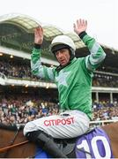 14 March 2018; Jockey Davy Russell celebrates winning the RSA Steeple Chase on Presenting Percy on Day Two of the Cheltenham Racing Festival at Prestbury Park in Cheltenham, England. Photo by Ramsey Cardy/Sportsfile