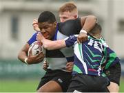 14 March 2018: David Nwambu of Dundalk Grammar School is tackled by Michael Duke and Sean Wafer of Gorey Community School during the McMullan Cup Final match between Gorey Community School and Dundalk Grammar at Donnybrook Stadium in Dublin. Photo by Matt Browne/Sportsfile