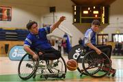 13 March 2018: The finals of the inaugural 'All-Ireland TY Wheelchair Basketball Championships' launched by Irish Wheelchair Association (IWA) took place on Tuesday, 13th March 2018 in the National Basketball Arena, Tallaght. Ardscoil na Mara, Tramore Co. Waterford and Gaelcholáiste Mhuire AG, Cork reached the grand final with Gaelcholáiste Mhuire AG rolling to victory on the day, in a fast paced match which ended in 11 - 4. Pictured is action from the game between Gaelcholáiste Mhuire AG, Cork and Grennan's College Thomastown at the National Basketball Arena in Tallaght, Dublin. Photo by Eóin Noonan/Sportsfile