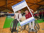13 March 2018: The finals of the inaugural  'All-Ireland TY Wheelchair Basketball Championships' launched by Irish Wheelchair Association (IWA) took place on Tuesday, 13th March 2018 in the National Basketball Arena, Tallaght. Ardscoil na Mara, Tramore Co. Waterford and Gaelcholáiste Mhuire AG, Cork reached the grand final with Gaelcholáiste Mhuire AG rolling to victory on the day, in a fast paced match which ended in 11 - 4. Pictured is Claregalway Community College students Josh Buckley and Alex Rafferth at the National Basketball Arena in Tallaght, Dublin. Photo by Eóin Noonan/Sportsfile