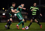 12 March 2018; Graham Cummins of Cork City in action against Lee Grace of Shamrock Rovers during the SSE Airtricity League Premier Division match between Cork City and Shamrock Rovers at Turner's Cross in Cork. Photo by Stephen McCarthy/Sportsfile