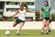 16 March 2018; Sarah Rowe of Mayo takes a penalty, as Aimee Mackin of Armagh looks on, during a training session on the TG4 Ladies Football All-Star Tour 2018. Berkeley International School. Bangkok, Thailand. Photo by Piaras Ó Mídheach/Sportsfile