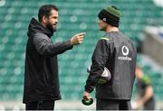 16 March 2018; Defence coach Andy Farrell, left, with Jonathan Sexton during the Ireland rugby captain's run at Twickenham Stadium in London, England. Photo by Brendan Moran/Sportsfile