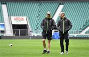 16 March 2018; Ireland head coach Joe Schmidt with strength & conditioning coach Jason Cowman during the Ireland rugby captain's run at Twickenham Stadium in London, England. Photo by Brendan Moran/Sportsfile